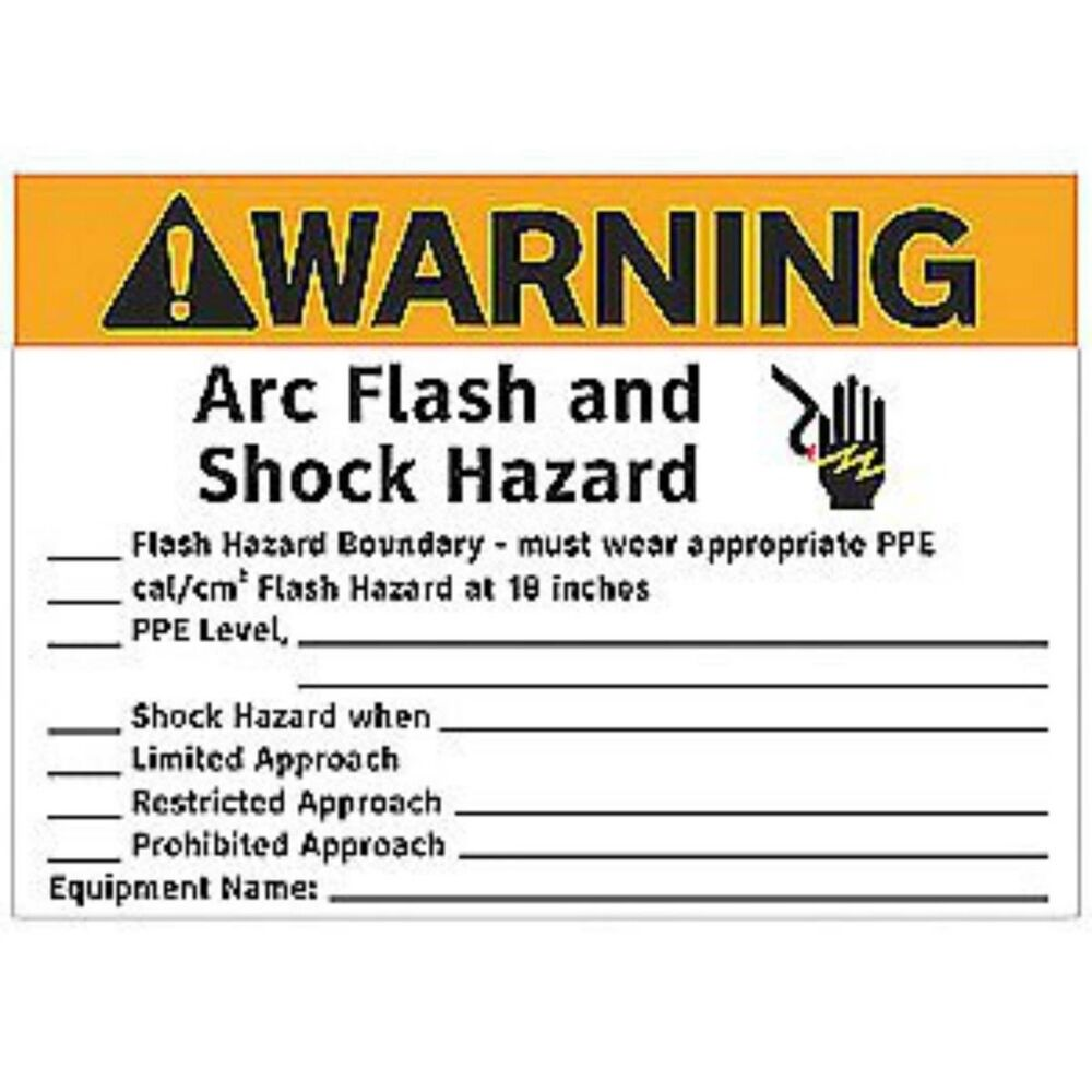 It's just an image of Superb Arc Flash Warning Label