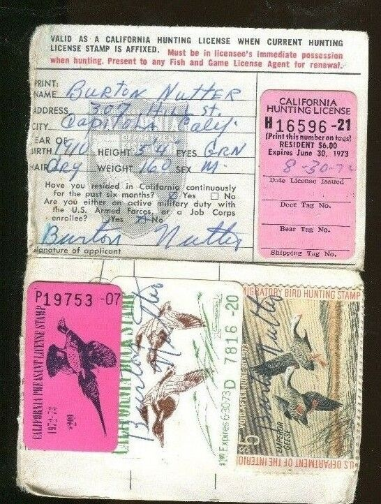 California 1972 resident hunting license w rw39 ca 2 for Hunting fishing license