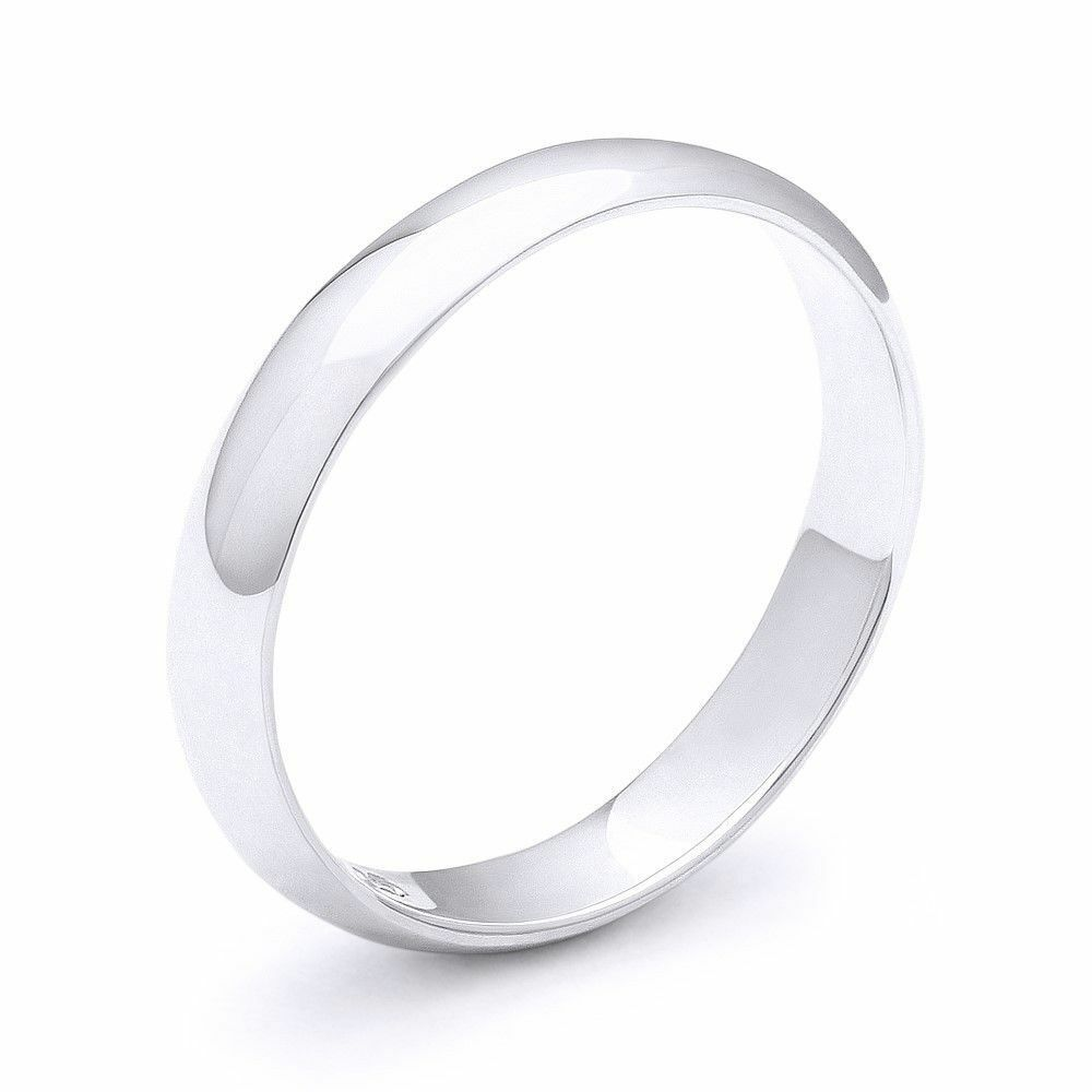 3mm plain dome wedding band in plain solid 925 sterling