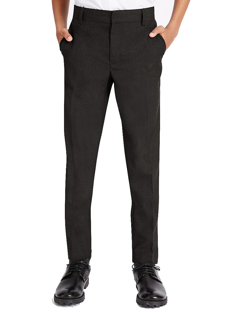 We found slim fit school trousers in M&S recently but they are now called 'modern fit ' for age 13 years but you should be able to order them online. Agree its really hard to find slim fit trousers for school.
