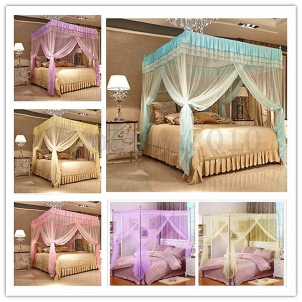 Four corner curtain bed mosquito net canopy netting for Bed with mosquito net decoration