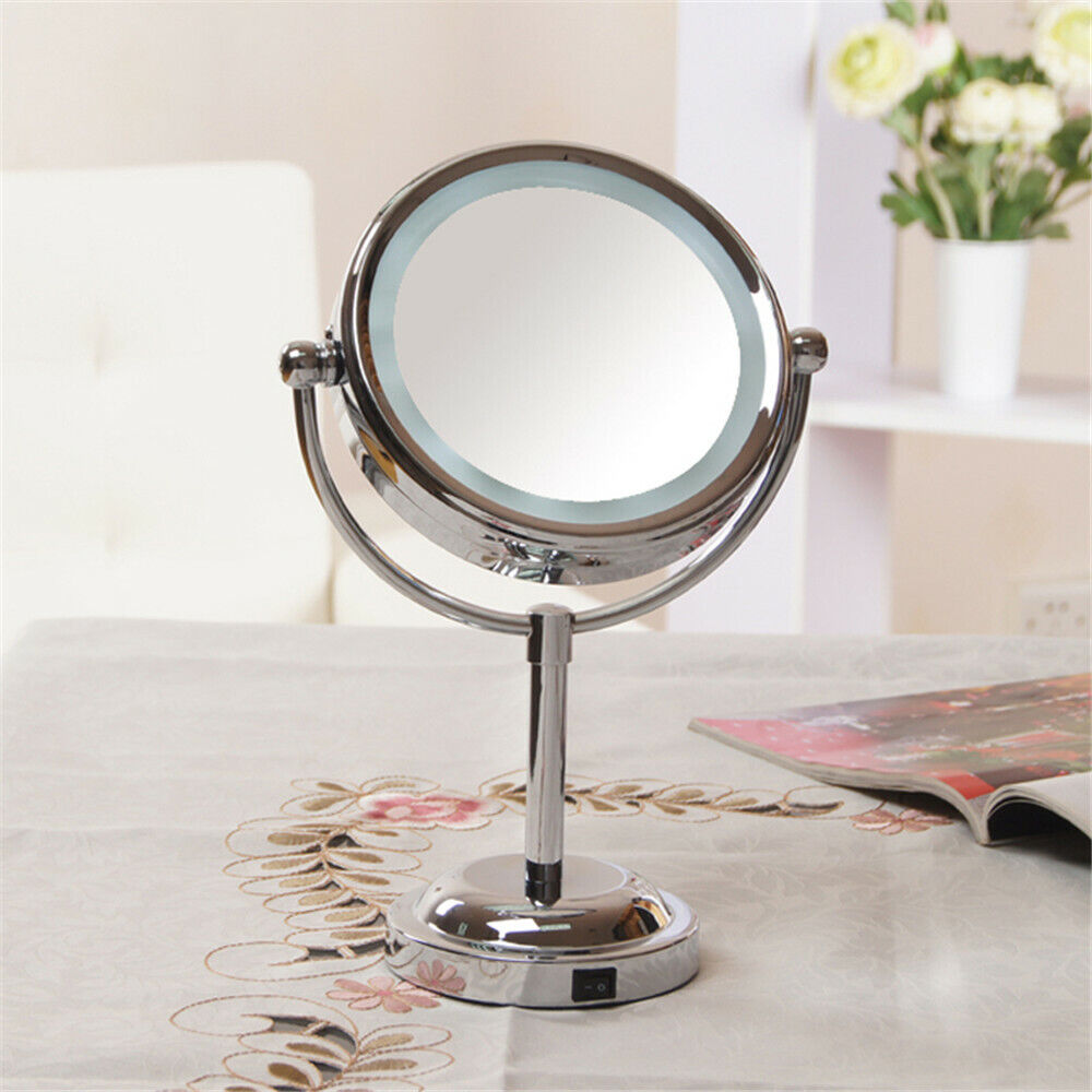 Us Magnifying Led Lighted 5x Compact Cosmetic Makeup Dual Sided Stand Up Mirror Ebay