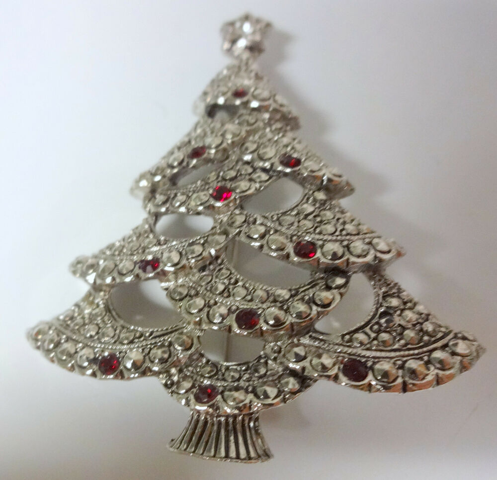 Vintage Signed AVON Christmas Tree Silver Tone Red ...