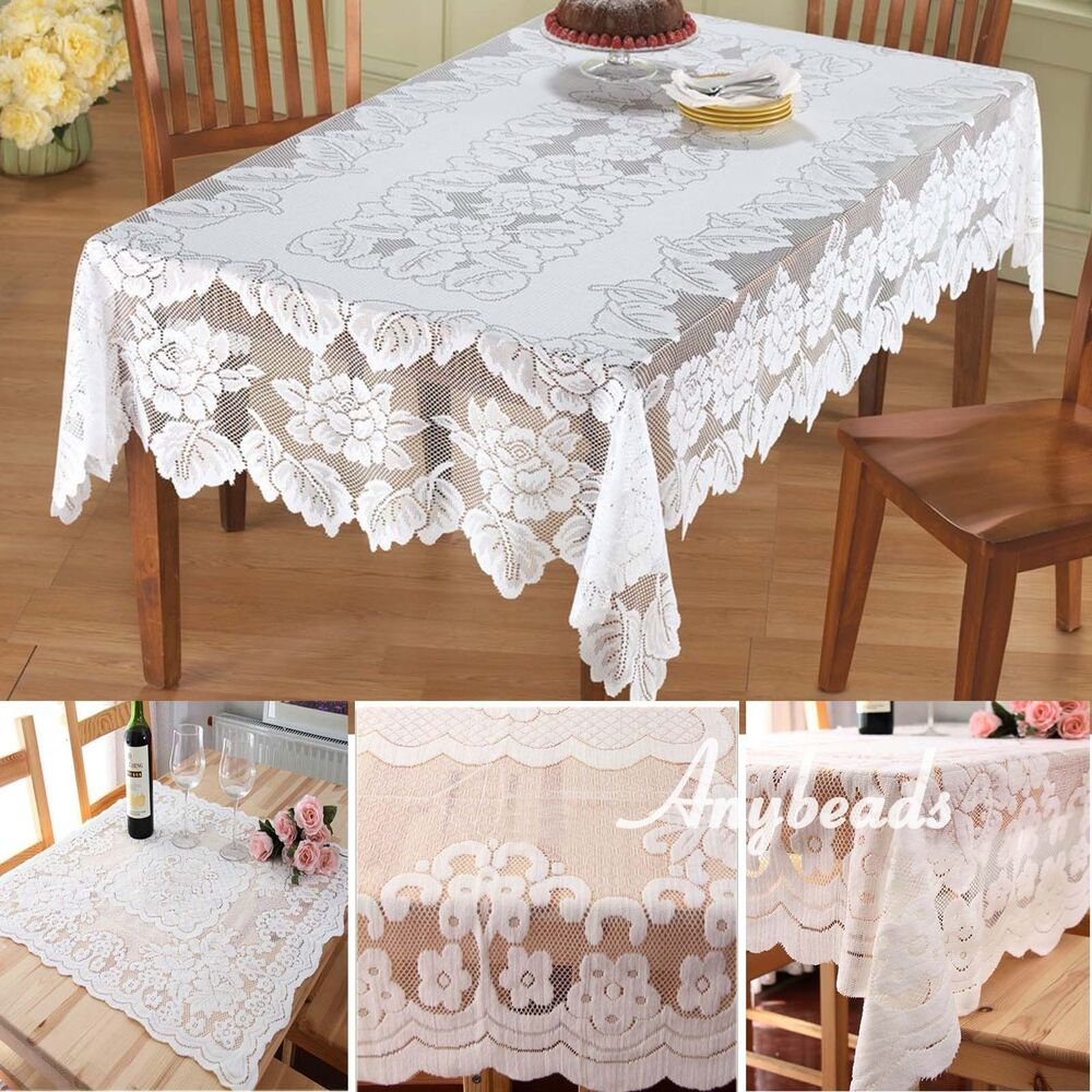 Lace Tablecloth Square White IN HAND Floral Rose Cover  : s l1000 from www.ebay.com size 1000 x 1000 jpeg 196kB