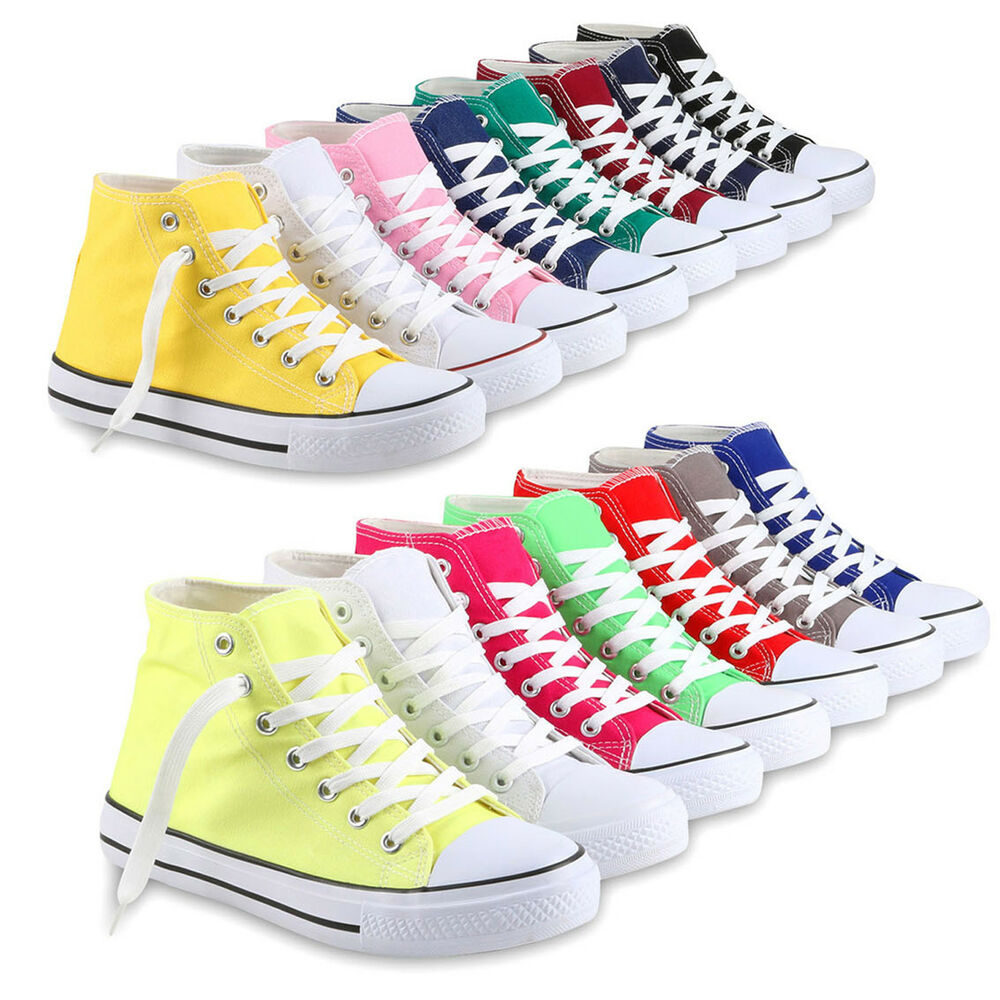 freizeit damen sneakers high viele farben gr en canvas schuh 811070 schuhe ebay. Black Bedroom Furniture Sets. Home Design Ideas