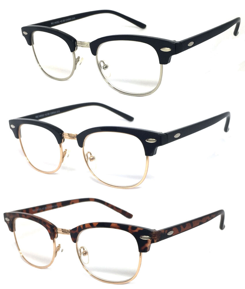 Half Frame Reading Glasses : 80s Vintage Horned Rim Half Frame Clubmaster Clear Lens ...