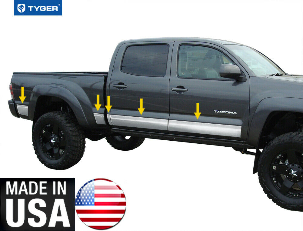 """TYGER For 05-15 Toyota Tacoma Double Cab 6' Bed Rocker Panel Trim 5.5"""" 10PC   eBay"""