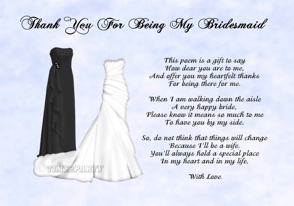Bridesmaid Gift To Bride On Wedding Day: A4 Thank You To My Bridesmaid Poem