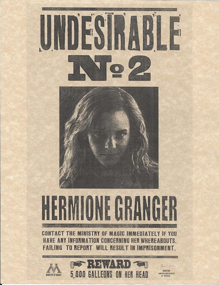 Harry Potter Undesirable Number 2 Hermione Granger Wanted ...