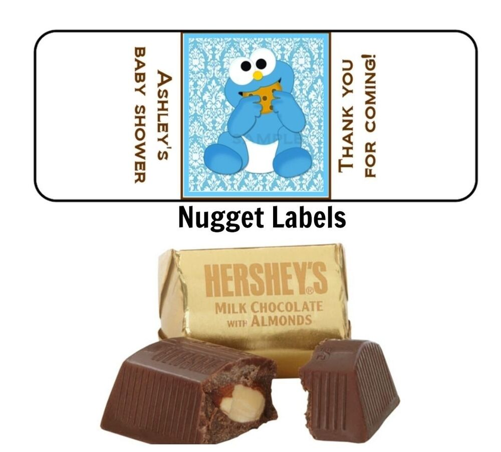 Nuggets Watch Party: 30 COOKIE MONSTER Baby Shower Favor Personalized Hershey