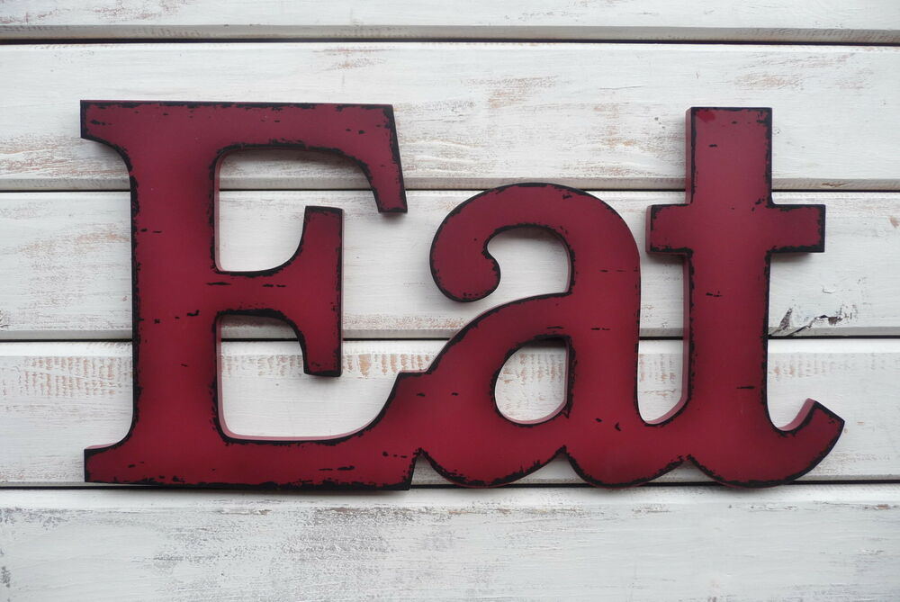 Eat red wood distressed letter kitchen cafe diner sign for Kitchen letters decoration