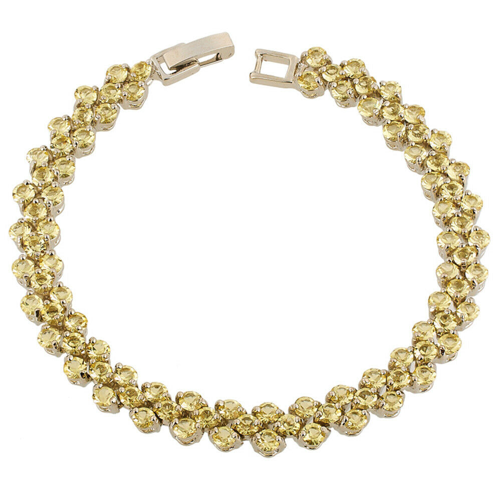 Melina Jewelry Melina Jewelry Round Yellow Citrine White
