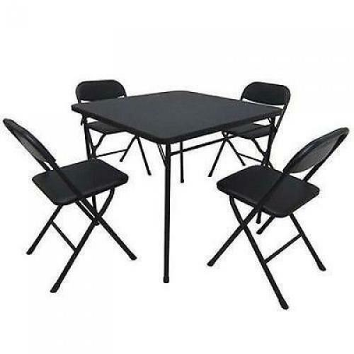 Folding Dining Table Set of 5 Table and 4 Chairs Black  : s l1000 from www.ebay.com size 500 x 500 jpeg 20kB