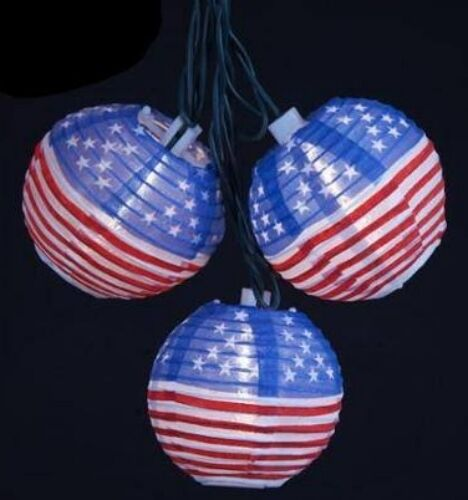 Patriotic String Lights Outdoor : Flag USA Patriotic Outdoor Indoor July Veterans Memorial picnic string lights eBay