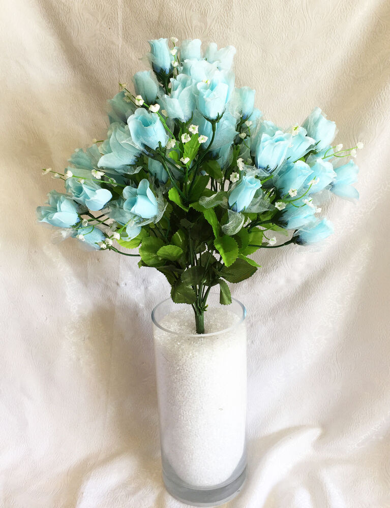 Mini rose buds light blue silk wedding flowers