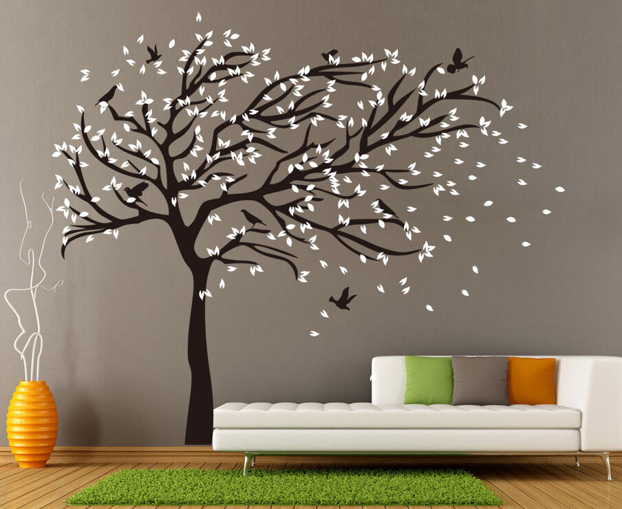 x large birds tree branch wall stickers vinyl decals uk. Black Bedroom Furniture Sets. Home Design Ideas