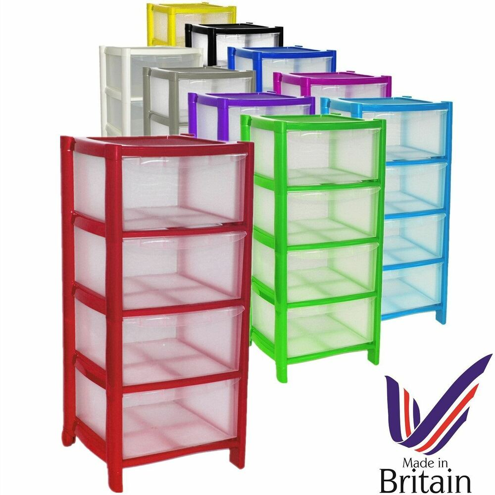 Plastic Large Tower Storage Drawers Chest Unit With Wheels