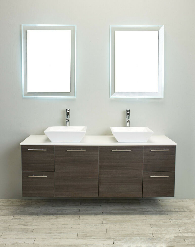"Ebay Bathroom Vanity With Sink: EVIVA 60"" LUXURY DOUBLE SINK BATHROOM VANITY IN GREY OAK"