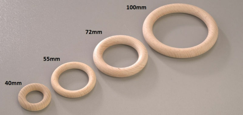 Round Beechwood Wooden O Ring Hoop Decorate Plain Natural 40mm 55mm ...