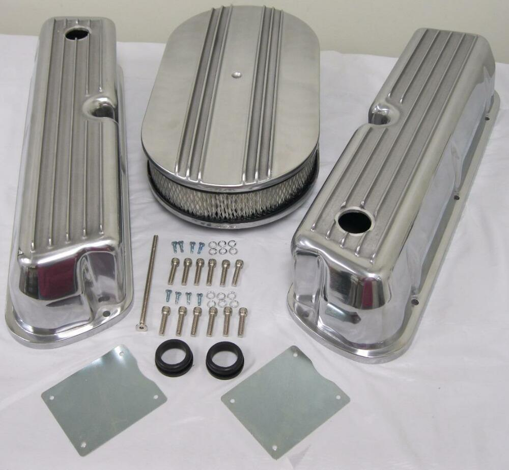 Ford 302 Air Cleaner : Ford w finned retro aluminum valve covers air
