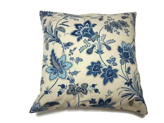 Brown Floral Throw Pillow : THROW PILLOW SHAM / COVER 18X18 BLUE TAUPE TAN BROWN FLORAL PRINT eBay