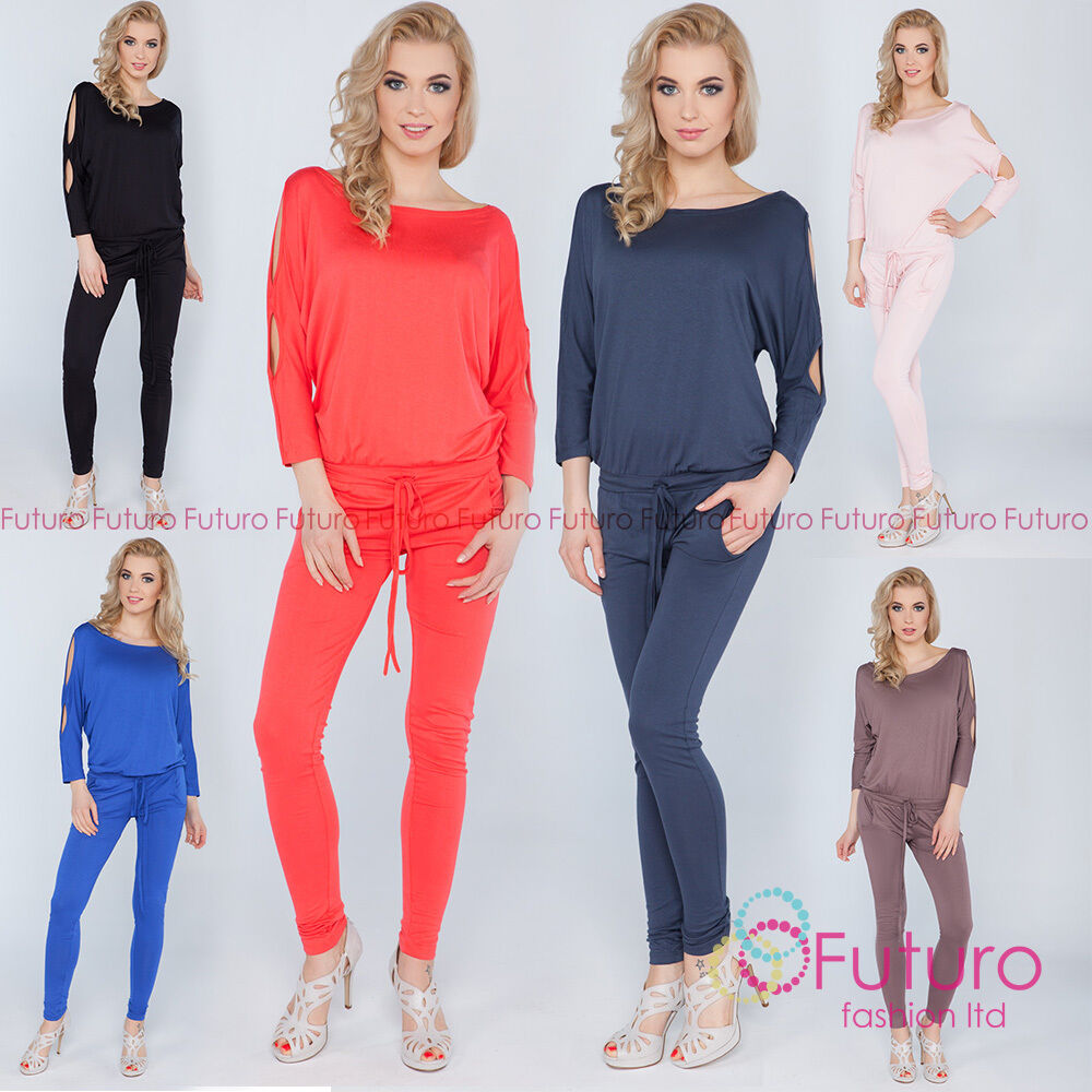 f2667171a2eb Details about Womens Jumpsuit With Pockets Boat Neck Open 3 4 Sleeve  Playsuit Sizes 8-14 1081