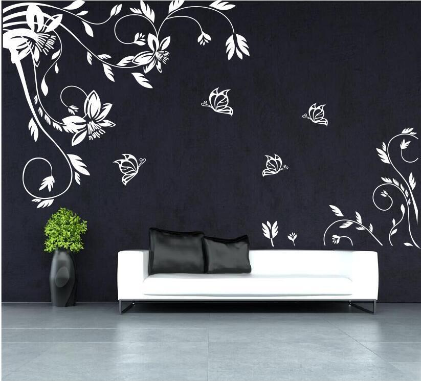 vine flower butterfly vinyl wall art stickers wall decals. Black Bedroom Furniture Sets. Home Design Ideas