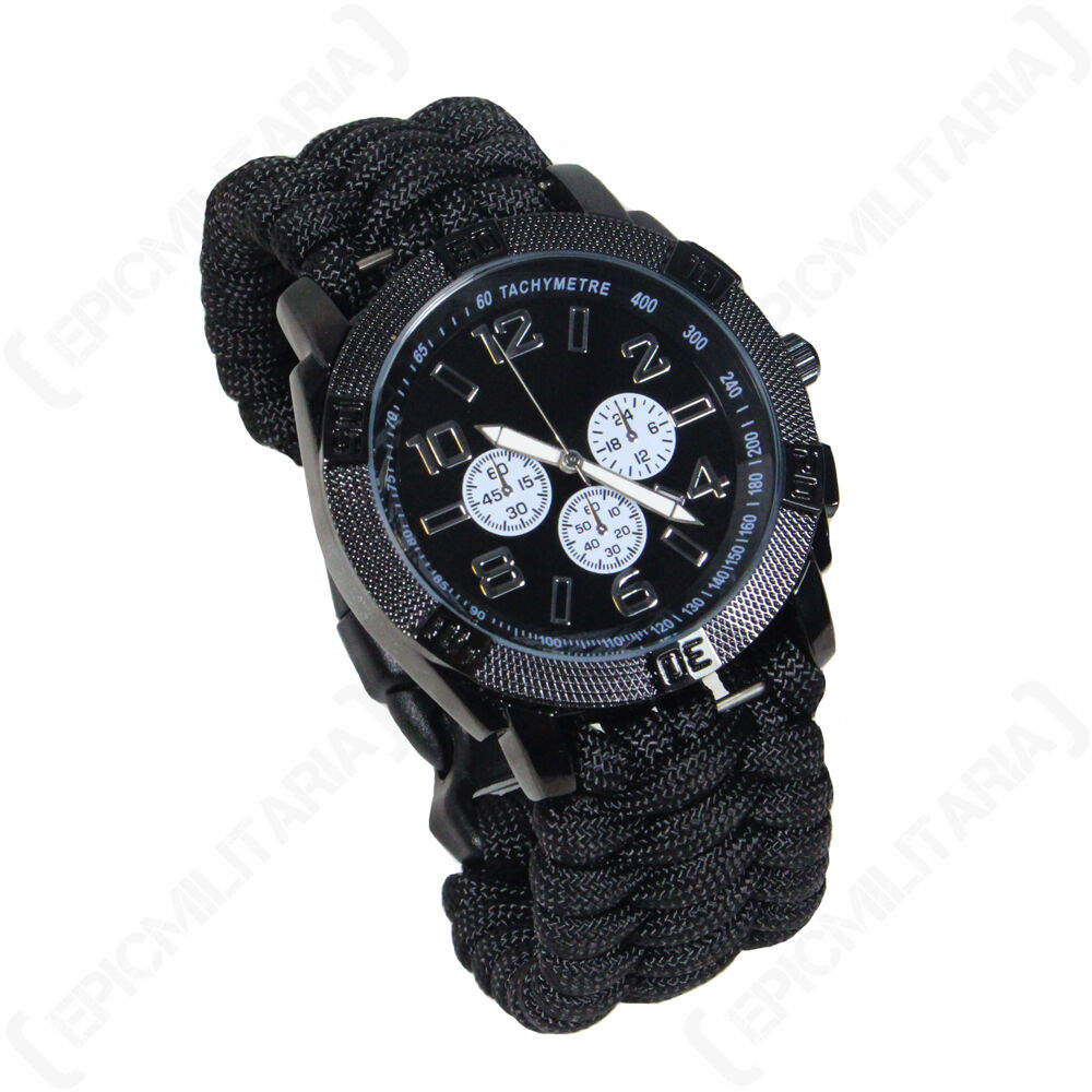 Black paracord watch paracord strap rope survival outdoor hiking camping unisex ebay for Outdoor watches
