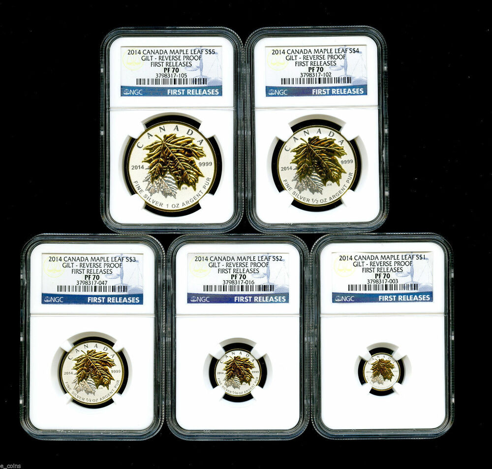 2014 Canada Silver Maple Leaf Gilt Gold Ngc Pf70 Reverse