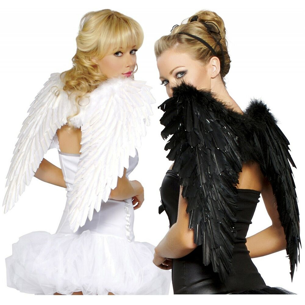Costume Wings Adult Teen Dark Fallen Angel Raven Swan Halloween Fancy Dress | eBay