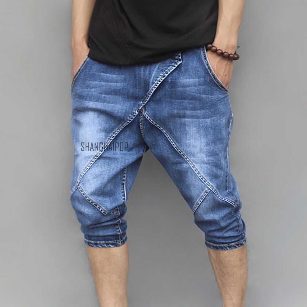 men 3 4 crop denim baggy jeans trousers pant drop crotch. Black Bedroom Furniture Sets. Home Design Ideas