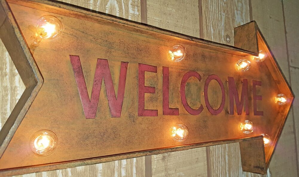 Rustic Vintage Metal Welcome Enter Entrance Enter Open