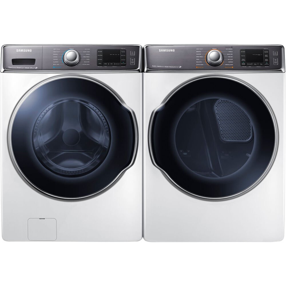 Samsung White 5 6 Cf Washer And 9 5 Cf Gas Dryer Front