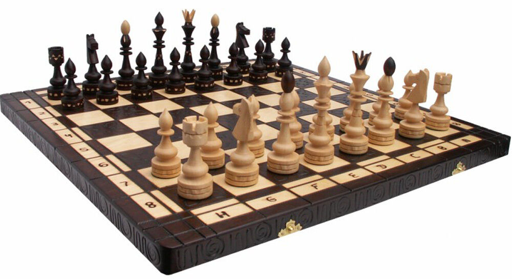 schach gro es edles schachspiel indian chess schachbrett 54x54cm holz handarbeit ebay. Black Bedroom Furniture Sets. Home Design Ideas