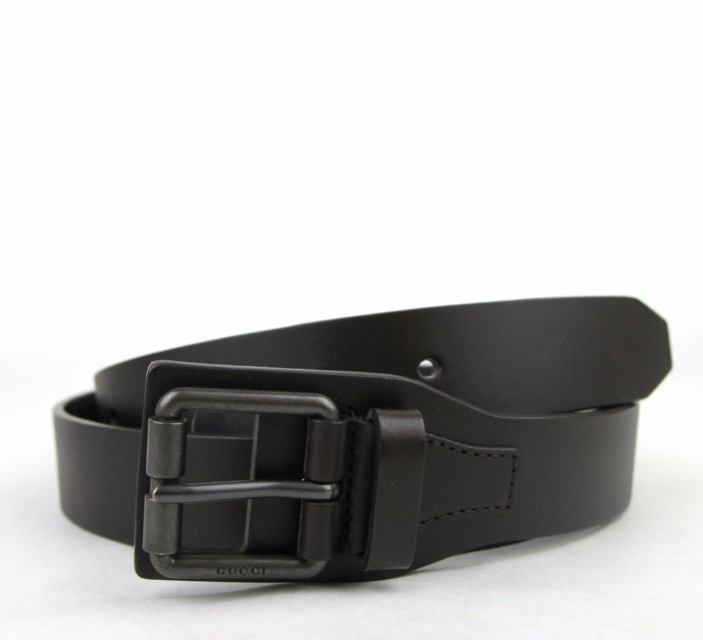 new auth gucci mens brown leather belt with square