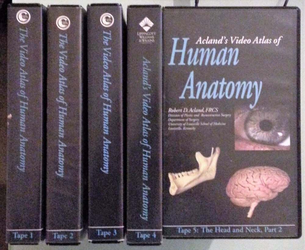 robert acland THE VIDEO ATLAS OF HUMAN ANATOMY tape 1 2 3 4 5 VHS ...