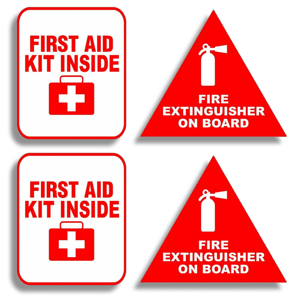 3 Quot Fire Extinguisher First Aid Decals Stickers Pack Label Truck Off Road Safety Ebay