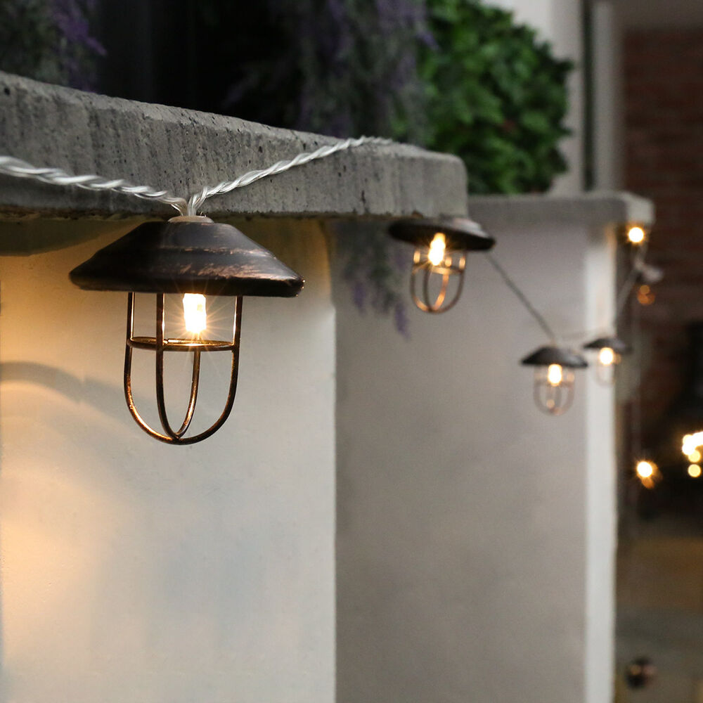 10 led battery outdoor garden vintage lantern clear cable Outdoor string lighting