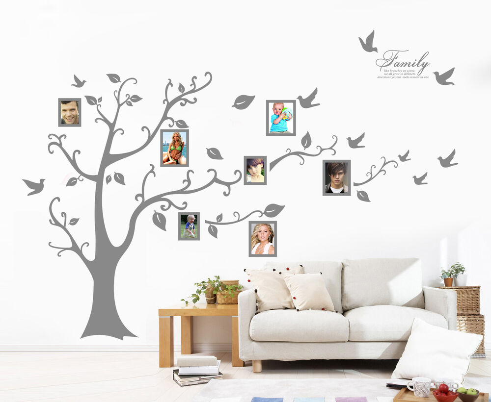 Photo Frame Family Tree Decal Wall Decals Wall Decor: X-Large Family Tree Bird Photo Frame Wall Quote Art Wall
