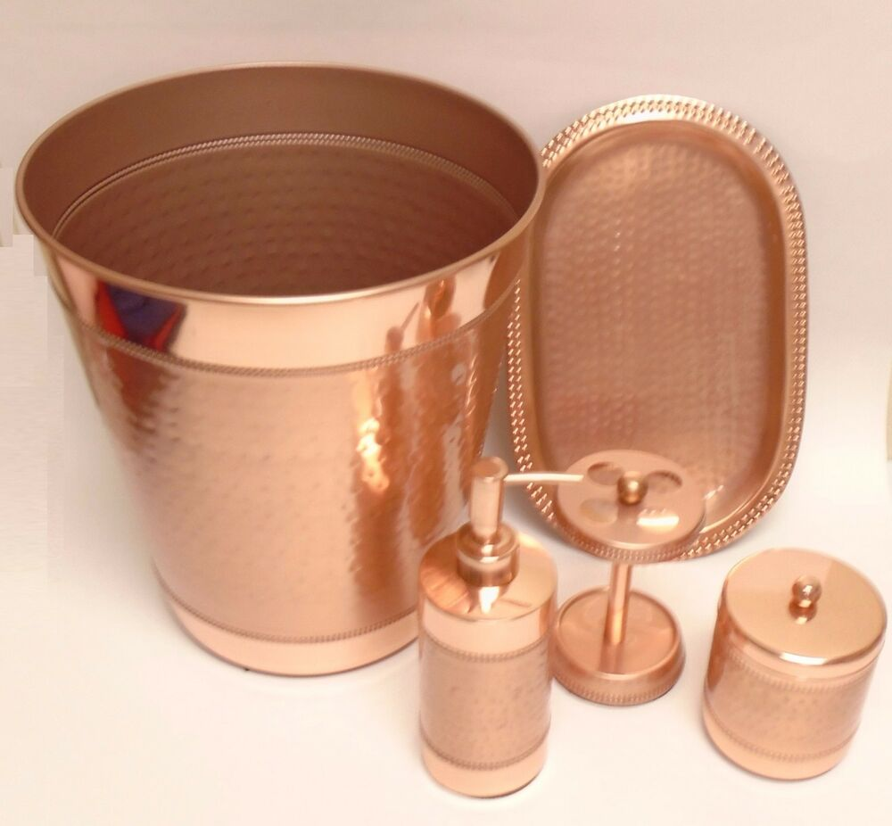 new 5 pc copper rose gold metal soap dispenser tray toothbrush trash can jar ebay. Black Bedroom Furniture Sets. Home Design Ideas