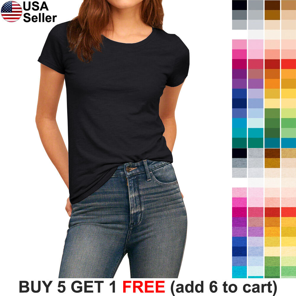 Basic Crew Neck T Shirt Solid Plain Top Stretch Layer