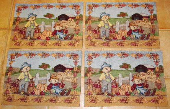 Scarecrow Gathering Fall Autumn Tapestry Placemats Set Ebay