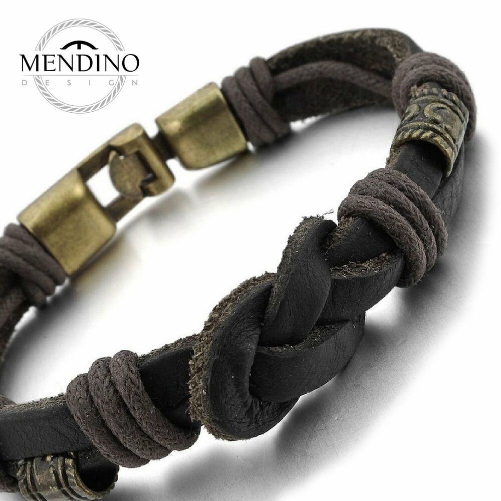 Cuff Bangle Bracelet: MENDINO Mens Leather Cord Bracelet Braided Rope Love