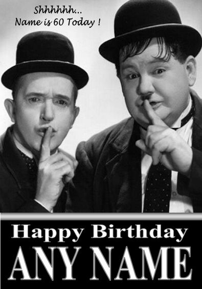 Laurel Amp Hardy Personalised Birthday Card Large A5 Size