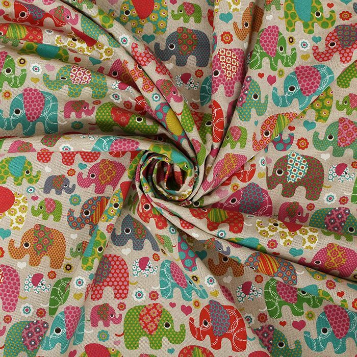 Multicoloured elephants linen look panama childrens for Children s animal print fabric