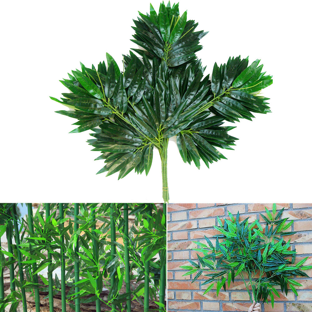 2pc artificial bamboo spray leaf faux plant fake branch for Faux bambou plante