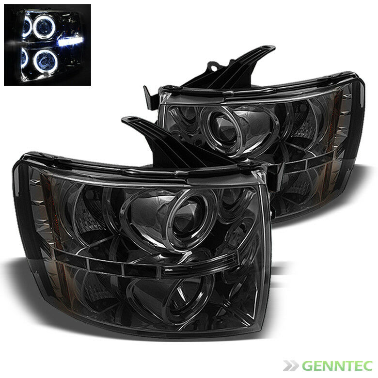 For Smoked 07 14 Chevy Silverado Halo LED Projector