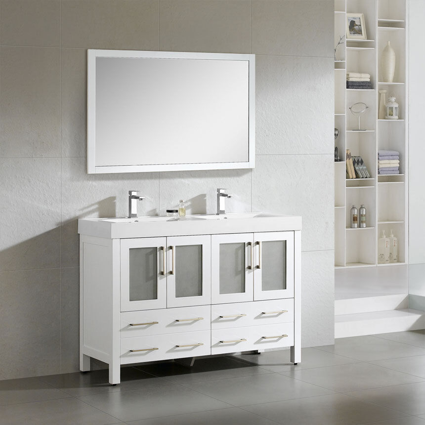 dowell 48 019 48 01 modern double sink bathroom vanity milky white
