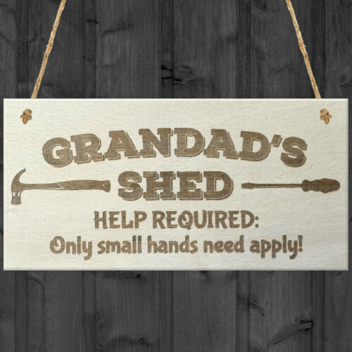 Grandads Shed Help Required Novelty Wooden Hanging Plaque Garage Door Gift Sign