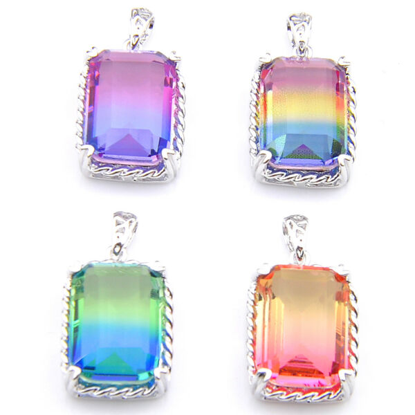 4 pcs Rectangle Rainbow Mystic Topaz Amethyst Citrine Silver Necklace Pendants
